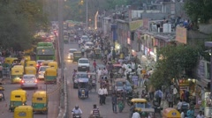 Busy road with motor rickshaws at railway station,New Delhi,India Stock Footage