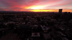 Denver CO Aerial, downtown, Capitol building, sunset Stock Footage