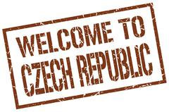 Welcome to Czech Republic stamp Stock Illustration