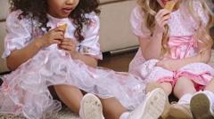 Two Cuties Eating Cookies Stock Footage