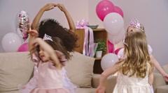 Fancy Little Girls Dancing Stock Footage