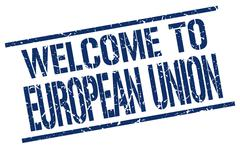 Welcome to european union stamp Stock Illustration