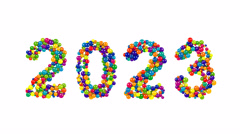 2023 colorful New Year date design with spheres Stock Footage