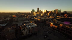 Denver CO Aerial, downtown, sunrise Stock Footage