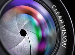 Closeup Black Digital Camera Lens with Clear Vision Stock Illustration