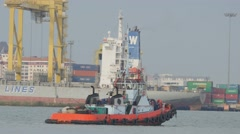 Tug boat in harbour,Penang,Malaysia Stock Footage