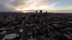 Denver CO Aerial, downtown, sunset, tracking right Stock Footage