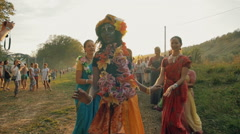 RUSSIA, SAMARA, AUGUST 5, 2016: Hare Krishna. Women dance and sing the mantra Stock Footage