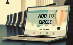 Landing Page of Laptop with Add To Circle Concept Stock Illustration