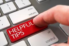 Helpful Tips - Computer Keyboard Concept. 3D Rendering Stock Illustration