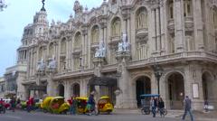Establishing shot of the beautiful Lorca Theater in central Havana, Cuba. Stock Footage