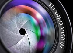SLR Camera Lens with Inscription Shared Vision. 3D Render Stock Illustration