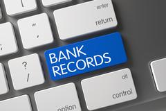 Keyboard with Blue Button - Bank Records. 3D Render Stock Illustration