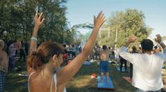 Group Of People Meditation Chakra Breathing On Nature Stock Footage
