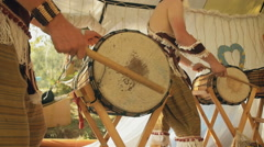 Musicians Play On African Drums Slow-Mo Stock Footage