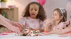 Delicious Birthday Cake for Girls Stock Footage