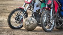Motoball. Episode rivalry between the two athletes. Stock Photos
