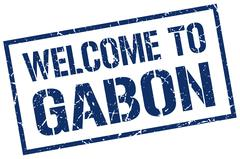 Welcome to Gabon stamp Stock Illustration