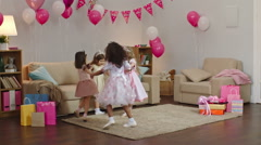Little Princesses at Party Stock Footage