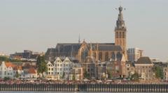 Stevens church along the Waal river,Nijmegen,Netherlands Stock Footage