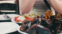 Seafood Mussels on a Plate in a Cafe Stock Footage