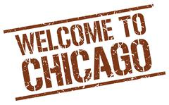 Welcome to Chicago stamp Stock Illustration