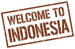 Welcome to Indonesia stamp Stock Illustration