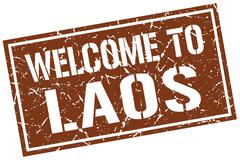 Welcome to Laos stamp Stock Illustration