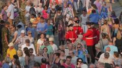 Military in crowd on pontoon bridge,Cuijk,Netherlands Stock Footage