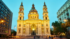 View of the Saint Stephens Basilica in the sunset Stock Footage