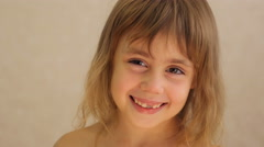 Close up portrait of little girl opening her mouth Stock Footage