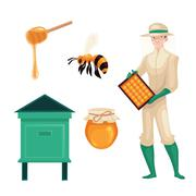 Beekeeper in protective suit, bee, honey jar and dipper Stock Illustration