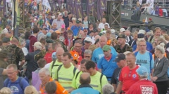Crowded pontoon bridge with vierdaagse walkers,Cuijk,Netherlands Stock Footage