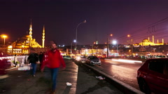 View of the traffic at night on the Galata Bridge Stock Footage