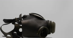 Gas Mask Spinning Isolated on White, 4K  Stock Footage