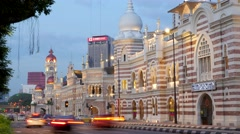 TIMELAPSE Evening traffic at Sultan Abdul Samad building,Kuala Lumpur,Malaysia Stock Footage