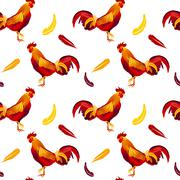 Vector image of red rooster seamless pattern Stock Illustration
