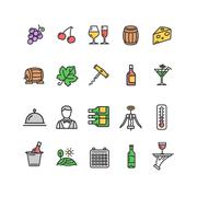 Wine Making Drink Icon Set. Vector Stock Illustration