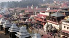 TIMELAPSE Crowds on Pashupatinath ghats,Kathmandu,Pashupatinath,Nepal Stock Footage