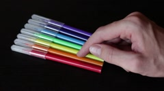 Choosing a right color felt-tip pen Stock Footage