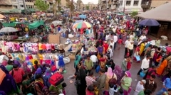 TIMELAPSE Busy market on Maidan with Teen Darwaja gate,Ahmedabad,India Stock Footage
