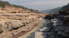 Yellow river (Huang He) next to the Hukou waterfall in Yichuan, China. Stock Footage