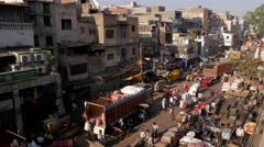 TIMELAPSE Busy spice market  with busy street,New Delhi,India Stock Footage