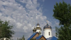 The dome of the Christian Church on the natural borders of Europe and Asia Stock Footage