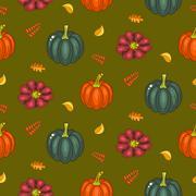 Autumn harvest seamless vector pattern Stock Illustration