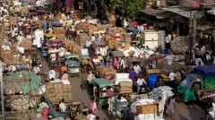 TIMELAPSE Crowded spice market  loading and unloading,New Delhi,India Stock Footage