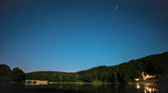 Lake in summer night - Lac de Pannecière in france - Time Lapse Stock Footage