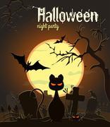 Halloween black cat on old cemetery, vector illustration. Halloween night party Stock Illustration