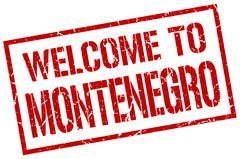 Welcome to Montenegro stamp Stock Illustration