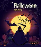 Halloween reaper on old cemetery, vector illustration. Halloween night party Stock Illustration